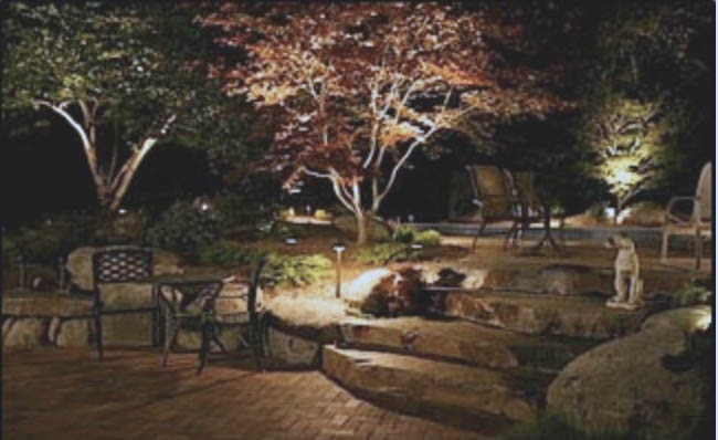 outdoor lighting shines at night in residential landscapes