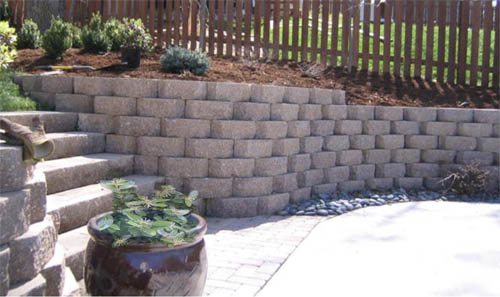 retaining wall with steps down