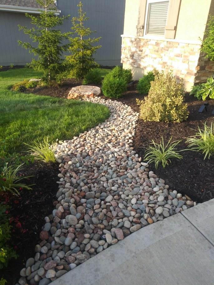 rock fill and mulch border